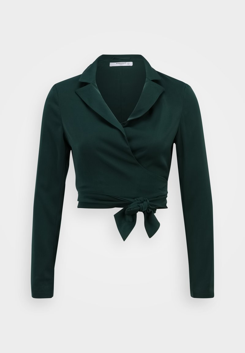 Glamorous Petite - CROP WRAP WITH BACK OR FRONT TIE DETAIL - Blazer - deep green
