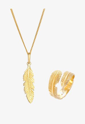 JEWELRY SET FEATHER - Necklace - gold