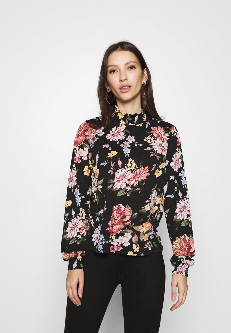 ONLY - ONLLENA FLOWER SMOCK - Long sleeved top - black