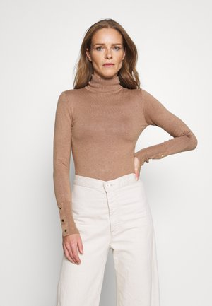 BASIC- BUTTON DETAIL JUMPER - Strikpullover /Striktrøjer - camel
