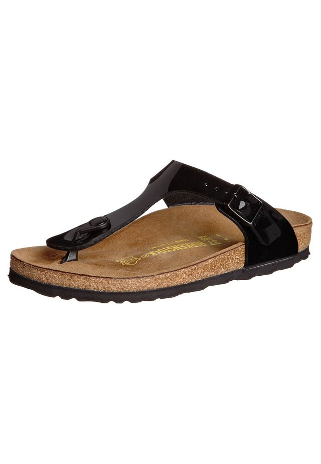 GIZEH - Sandály s odděleným palcem - schwarz lack