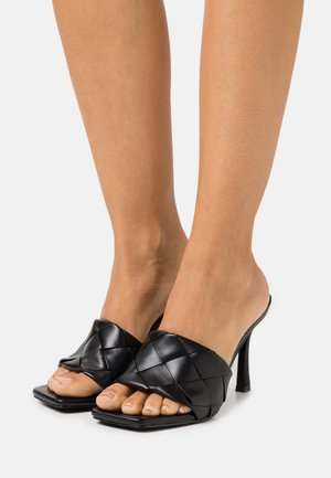 WIDE FIT TIARA - Heeled mules - black