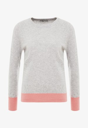 CLASSIC CREW NECK COLOR BLOCK - Svetr - light grey/coral pink