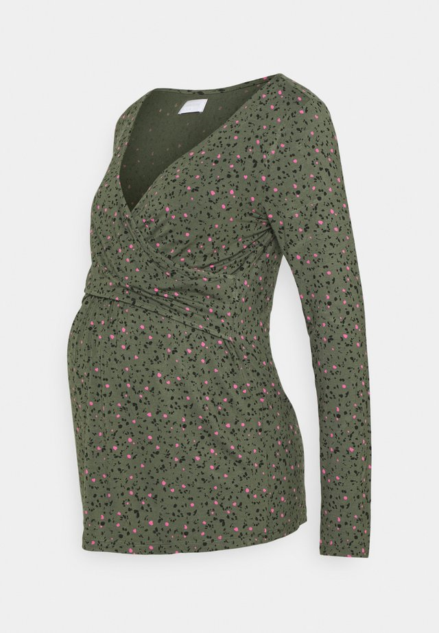 MLARIN TESS  - Long sleeved top - thyme/black