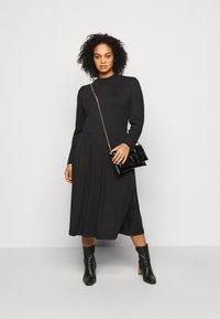 ONLY Carmakoma - CARCARMAKOMA CALF DRESS - Jersey dress - black melange - 1