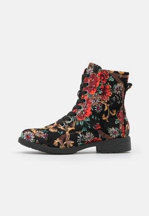 Lace-up ankle boots - black/multicolor