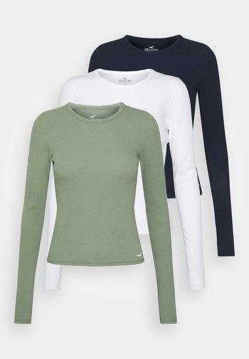 CREW BASIC 3 PACK - Long sleeved top - navy/white/sea spray