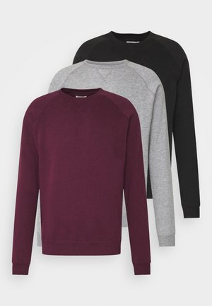 3 PACK - Felpa - bordeaux/black/grey