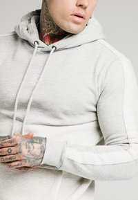 SIKSILK - DROP SHOULDER CUT SEW HOODIE - Luvtröja - grey marl/snow marl