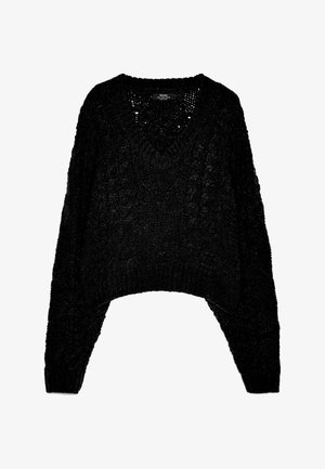 MIT ZOPFMUSTER - Pullover - black