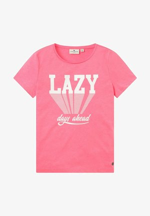PLACED PRINT - Print T-shirt - coral neon pink|pink
