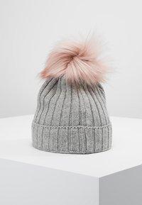 Huttelihut - Muts - light grey / rosa pompom - 3