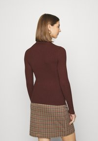 Even&Odd - BASIC- RIBBED TURTLE NECK - Jumper - dark brown - 2
