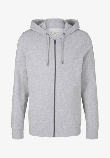 Felpa con zip - light stone grey melange