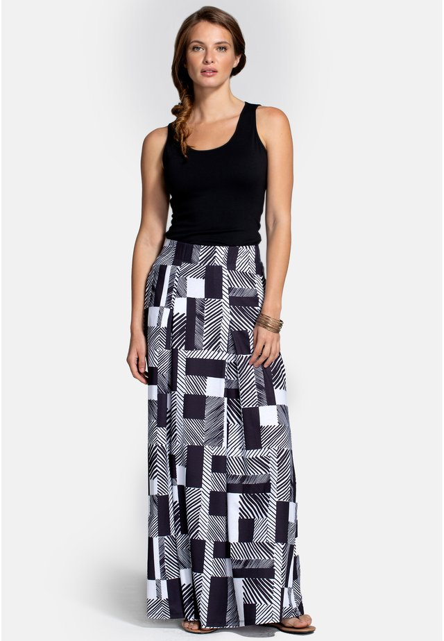 BOX - A-lijn rok - black white striped geo