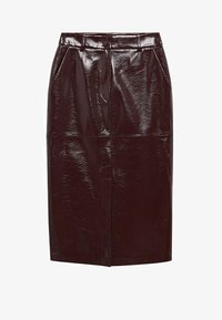 Mango - Leather skirt - donkerrood - 6