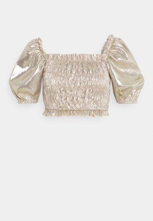 SHIRRED PUFF SLEEVE  - Majica kratkih rukava s printom - champagne