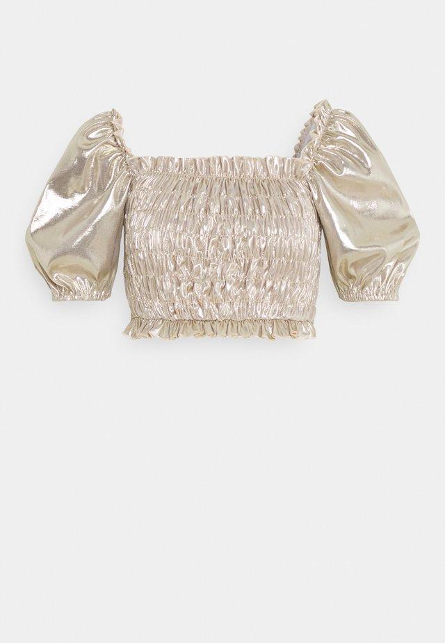 SHIRRED PUFF SLEEVE  - T-shirt imprimé - champagne