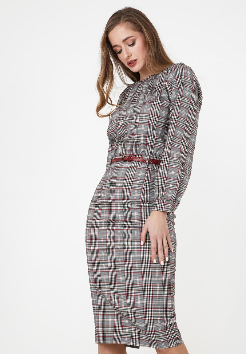 Madam-T - Shift dress - grau/ weinrot