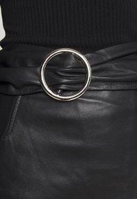 Topshop - LEAT WRAP PENCIL - Pencil skirt - black - 5