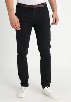 CLASSIC WITH BELT - Chino kalhoty - black