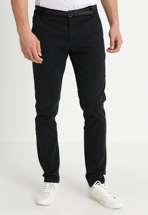CLASSIC WITH BELT - Pantalones chinos - black