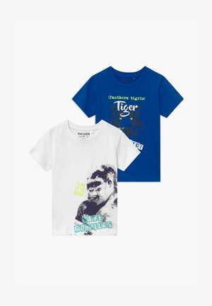 SMALL BOYS TIGER GORILLA 2 PACK - T-shirts print - blue/white