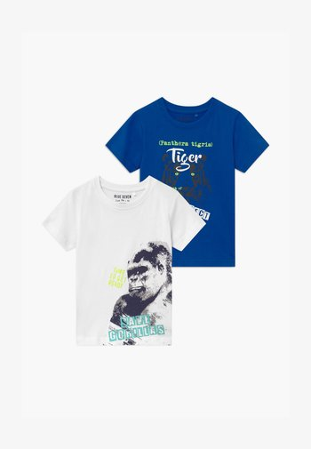 SMALL BOYS TIGER GORILLA 2 PACK - Camiseta estampada - blue/white