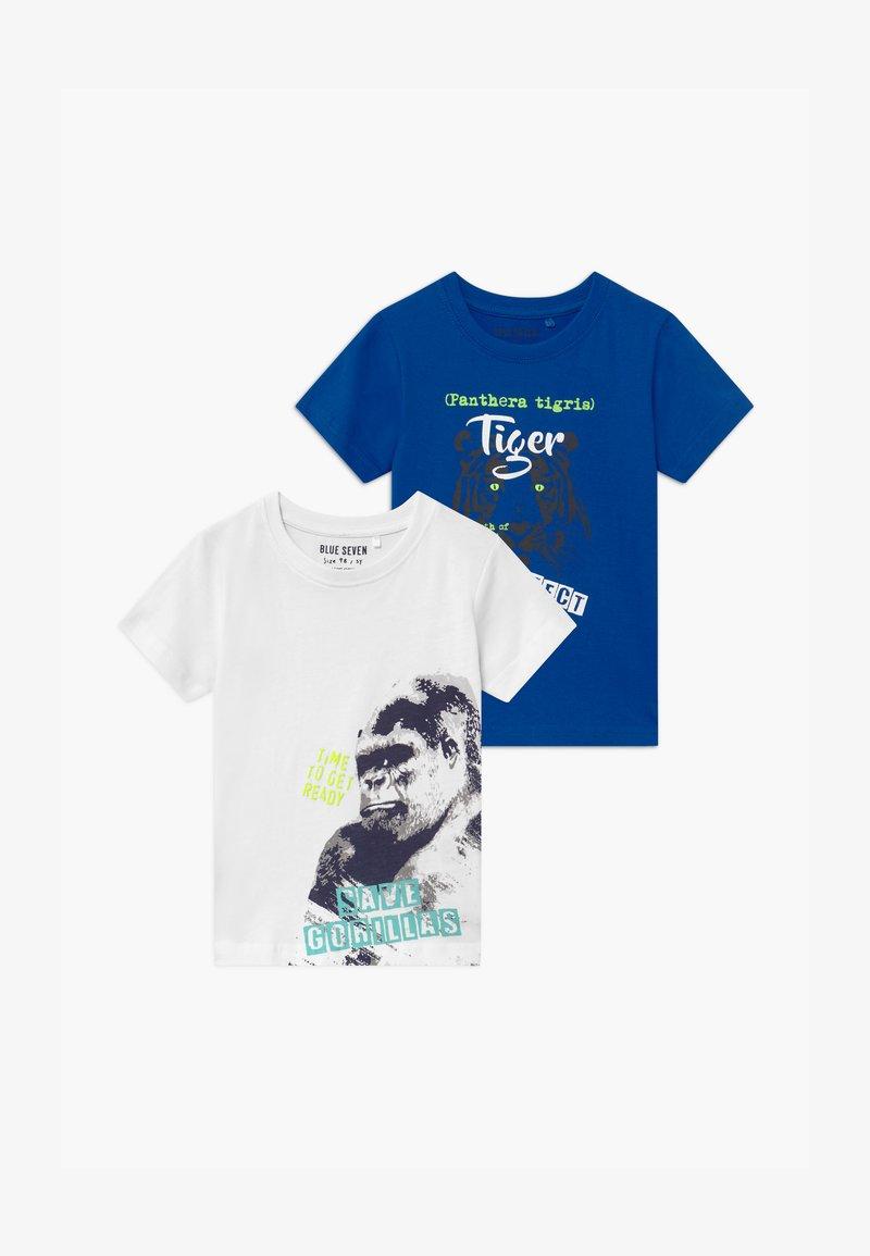 Blue Seven - SMALL BOYS TIGER GORILLA 2 PACK - Print T-shirt - blue/white