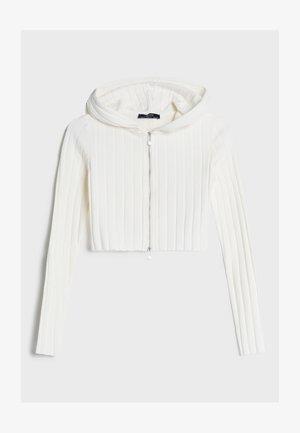 MIT PATENTMUSTER UND REISSVERSCHLUSS - Zip-up hoodie - stone