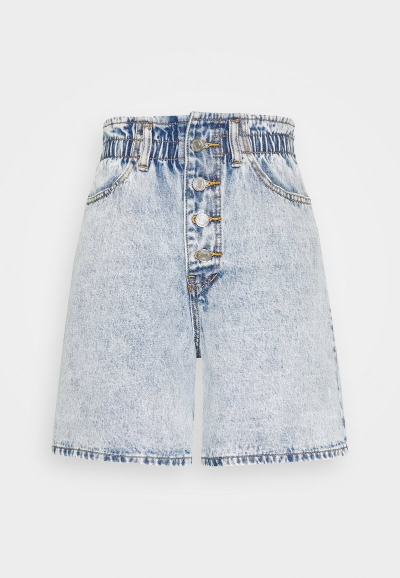 Missguided - PLEAT WAIST BAND HIGHWAISTED - Shorts di jeans - vintage