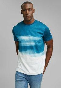Esprit - FASHION SLUB - Print T-shirt - petrol blue - 7