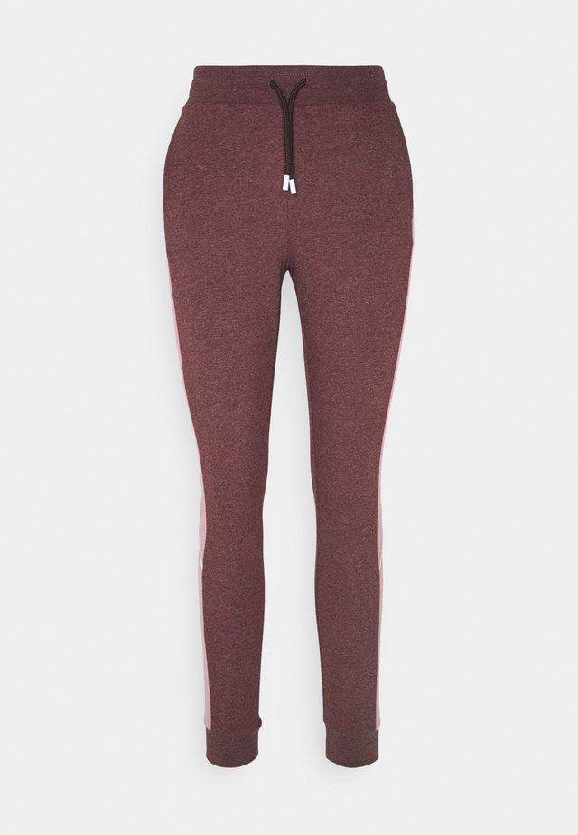 ONPOLAY SLIM PANTS - Pantalon de survêtement - fudge melange/mesa rose/white