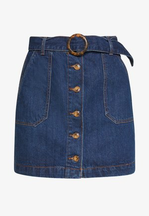 FALDA BOTONES CINTUR - Spódnica jeansowa - medium blue
