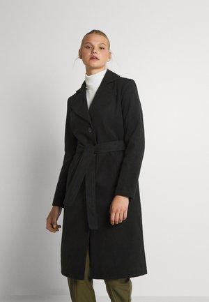 VIPOKU TIE BELT COAT - Mantel - black