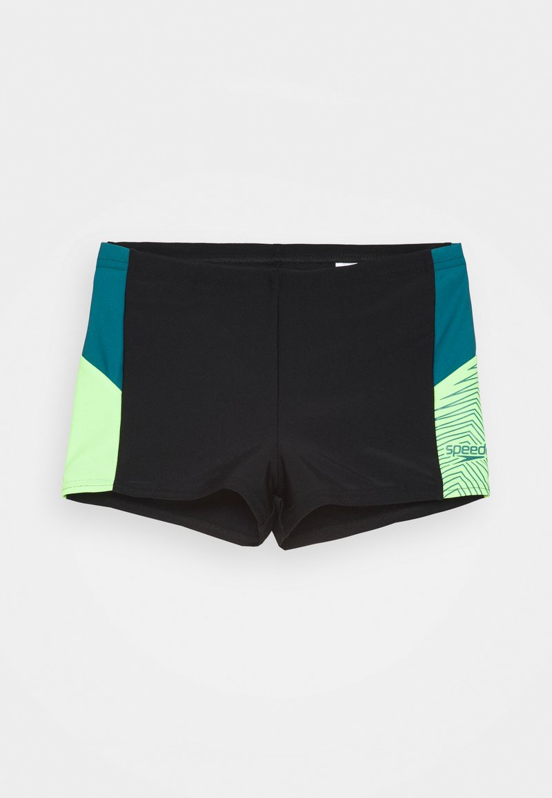 Speedo - DIVE - Swimming shorts - black/swell green/zest green