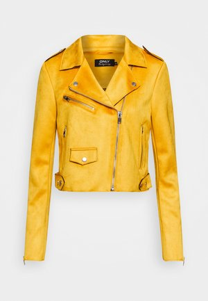 ONLSHERRY CROP  BONDED BIKER - Imitert skinnjakke - golden yellow