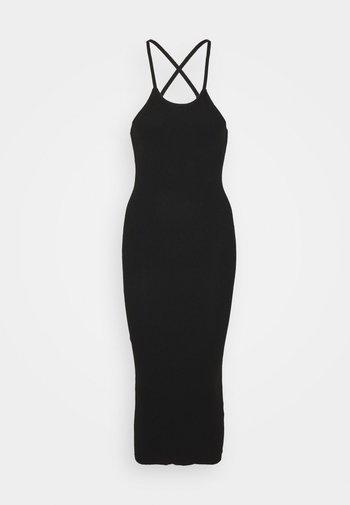 CROSS FRONT MIDAXI DRESS - Žerzejové šaty - black