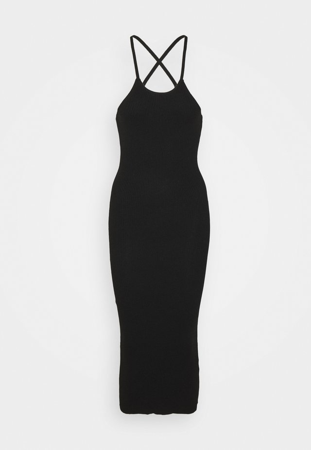 CROSS FRONT MIDAXI DRESS - Jerseyjurk - black