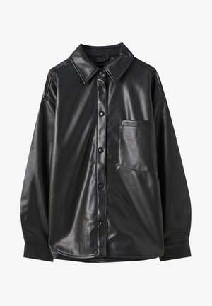 Faux leather jacket - metallic black