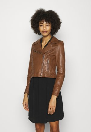 ALIZEE - Leather jacket - cognac
