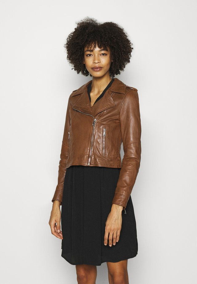 ALIZEE - Leather jacket - cognac