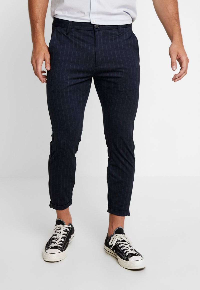 Gabba - PISA PINSTRIPE CROP - Trousers - navy stripe