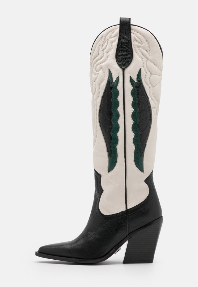 NEW KOLE - Botas de tacón - black/offwhite/emerald green