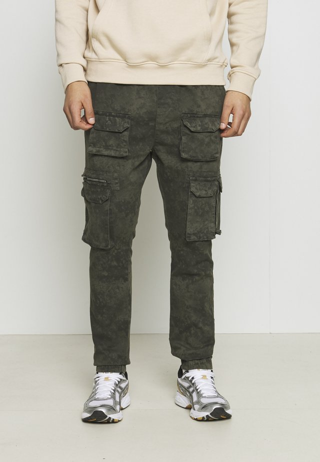 ACID WASH PANTS ONLY SIZE - Pantaloni cargo - green
