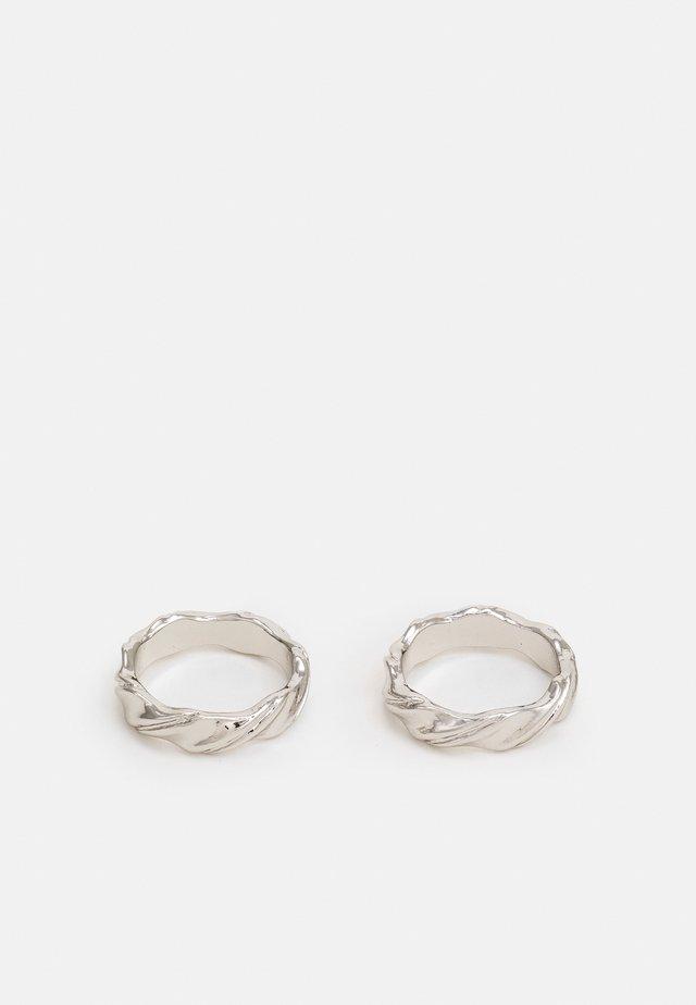 ESSENTIAL DOUBLE TWIST 2 PACK - Ring - rhodium-coloured