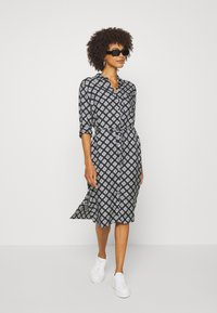 Marc O'Polo - DRESS STYLE BREAST POCKET SMALL BELT PRINTED - Shirt dress - black - 1