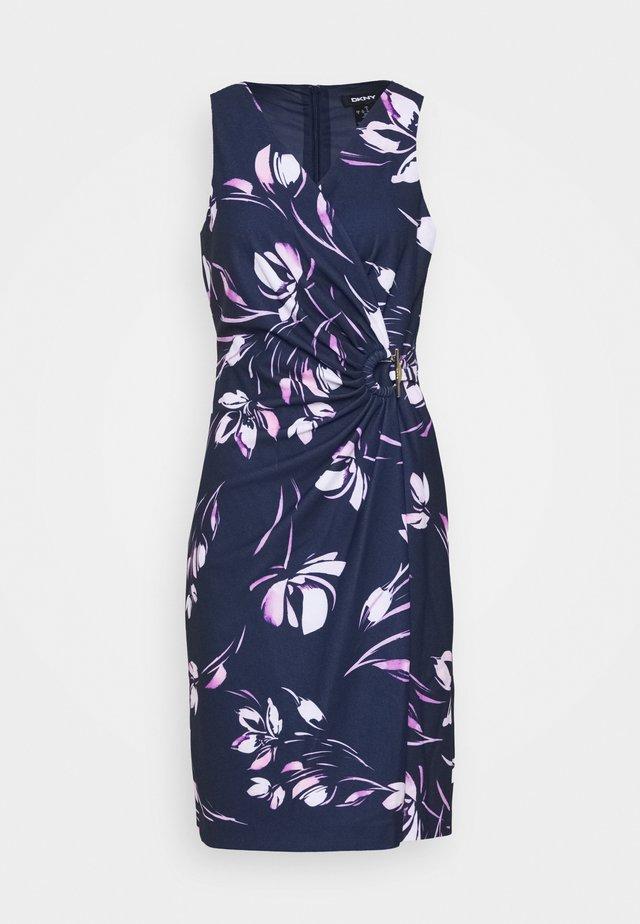 V NECK SIDE TIE WRAP - Shift dress - spring navy/multi