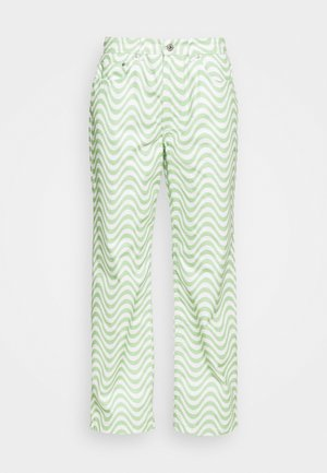 PRISM - Straight leg -farkut - lime/white