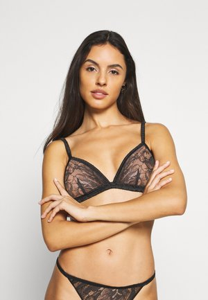 BLOOM FLORAL UNLINED TRIANGLE - Triangle bra - black
